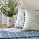 Apple Blossom green cushion