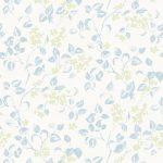 Apple blossom sky green fabric