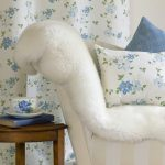 Clematis blue curtain with cushion
