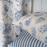 Elise french blue curtain and cushions