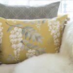 Mollie slate cushion with Wisteria