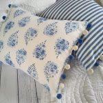 Rose Drop french blue cushion