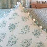 Rose Drop sage cushion detail