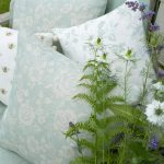Rose Garden duck egg cushions